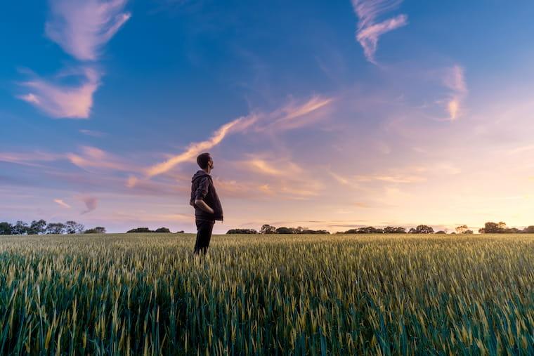 空を眺める青年の画像
