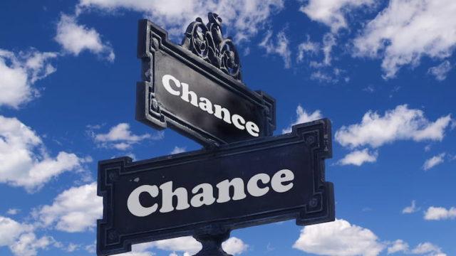 チャンスと書かれた看板の画像